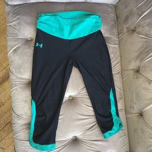 Under Armour Black and Teal Crop Leggings